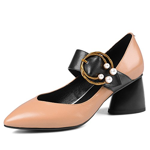 Chunky Shoes Seven Genuine Jane Handmade Fashion Pumps Heel Pointed Nine Leather Women's apricot Mary Cute Toe TYAcwz6qd