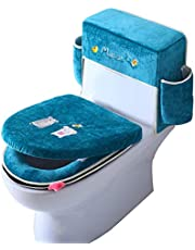 Toilet Seat Cover Cushion Three-Piece Washable Ice Silk Velvet Toilet Seats Soft and Thick Toilet Tank Cover Set Bathroom Toilet Tank Lid Cover with Handle