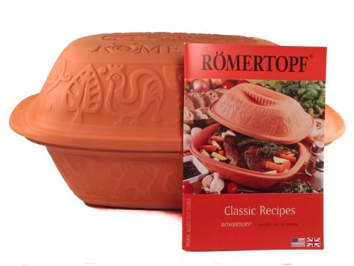 Romertopf 113 Glazed Clay Baker w/ Cookbook Large Casserole and Roaster Terra Cotta