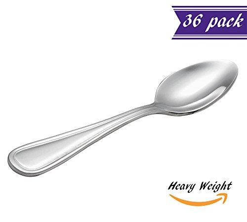 Stainless Flatware Collection ((Set of 36) Tuscany Heavy Weight Demitasse Spoons, 5-Inch 18/0 Stainless Steel Sugar Spoons for Restaurant / Catering Silverware Flatware, Commercial Quality Demitasse Spoon Set)