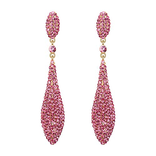 - EVER FAITH Women's Austrian Crystal Double Waterdrop Bridal Pierced Dangle Earrings Pink Gold-Tone