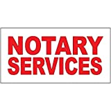Notary Services Red DECAL STICKER Retail Store Sign - 9.5 x 24 inches