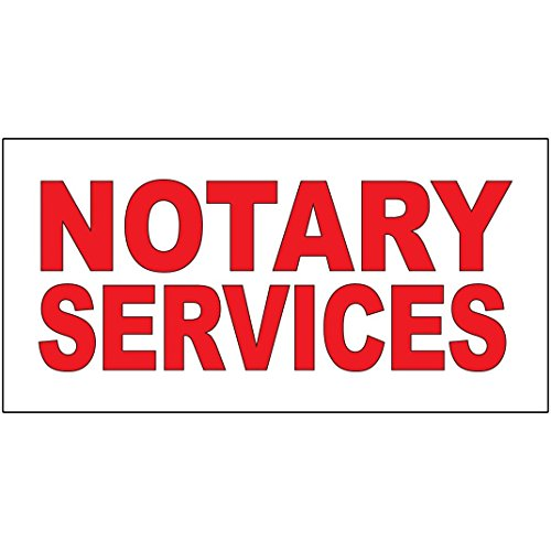Notary Services Red DECAL STICKER Retail Store Sign - 9.5 x 24 inches by Fastasticdeals