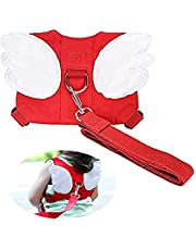 Jolik Baby Safety Walking Harness-Child Toddler Walking Anti-Lost Belt Harness Reins with Leash Kids Assistant Strap Angel Wings Travel (Red)