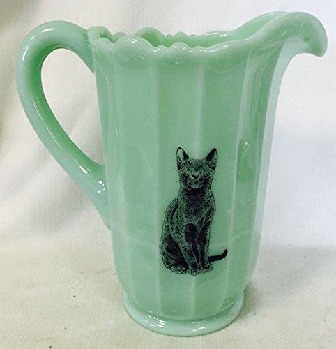 Cat Pitcher (Paneled Glass Water Pitcher Mosser USA - Black Cat (Jade))