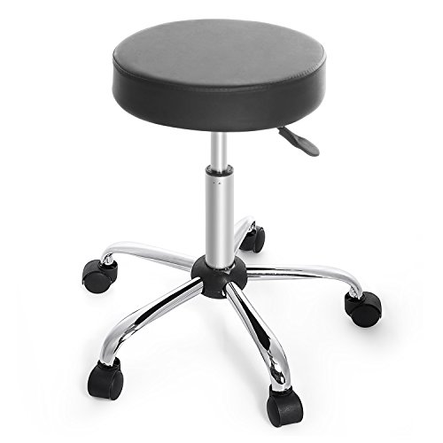 cnlinkco Round Height Adjustable Rolling Swivel Salon Bar Stool Kitchen Modern Chair with Dual Wheel (Kitchen Round Chair)