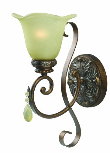 (World Imports 4761-60 Catania Collection Single Light Wall Sconce, Crackled Bronze and)