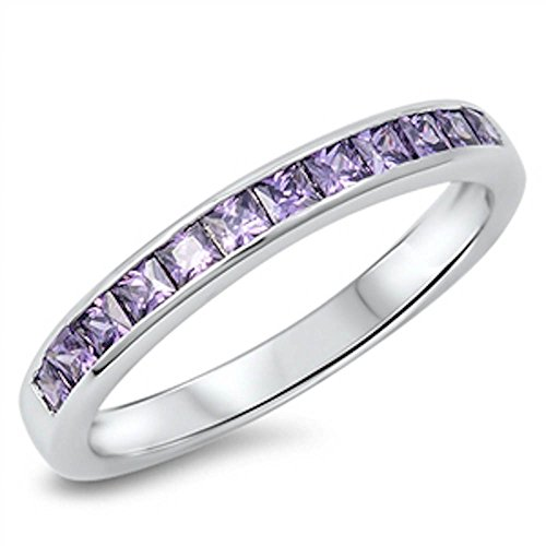 - Simulated Amethyst Princess Cut Eternity Band .925 Sterling Silver Ring Size 8