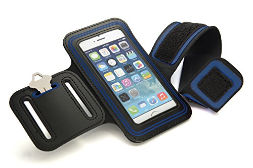 CyberTech Gym Sport Running Workout Sweat-resistant Armband Case Cover for Samsung Galaxy S2 S3 S4 S5, Apple 5S 5C 5 4, HTC One, Motorola Blackberry Z10, and Similar Sized Mobile Phone - Blue (S2 Sports Armband)
