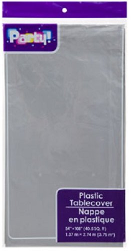 Plastic Table Covers, 54x108' (2-pack) Silver/Gray