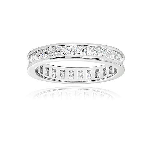 Sterling Silver Cubic Zirconia Princess-Cut 2mm Channel Set Polished Eternity Band Ring, Size 5 ()