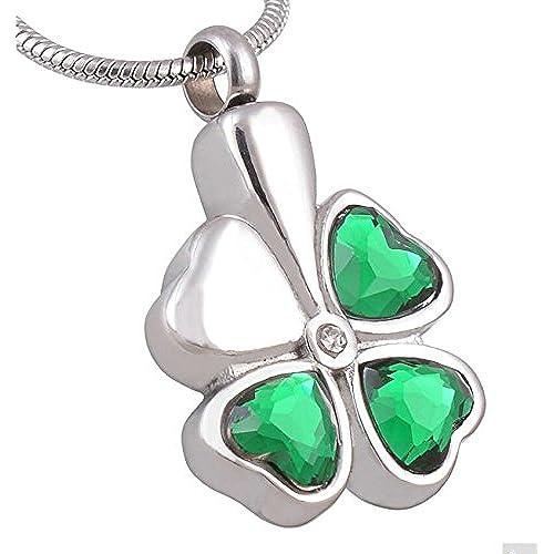 0a782bd7e318 Epinki Acero Inoxidable Verde Trébol Corazón Esmeralda Joyería Recuerdo  Memorial Urna Collar Colgante-Grabado Libre