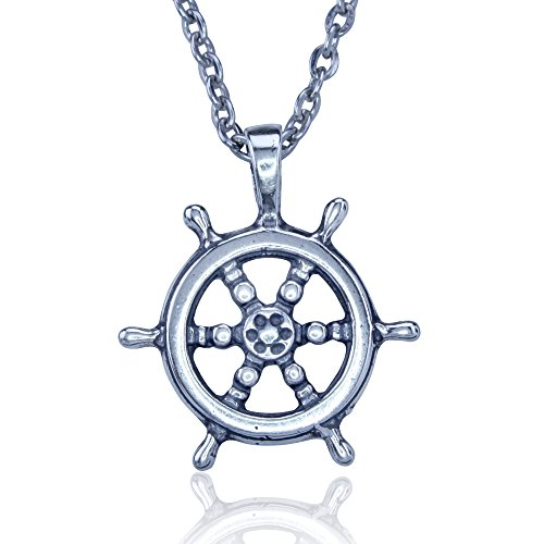 KeyLimeBay Ship's Wheel Crafted in Sterling Silver on an 18