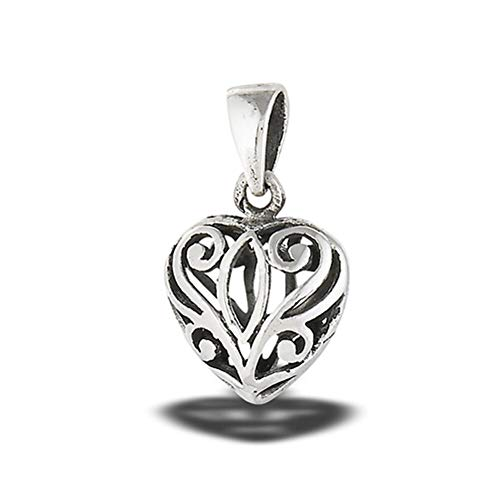 (Promise Heart Pendant Sterling Silver Intricate Cutout Filigree Detailed Charm Jewelry Making Supply Pendant Bracelet DIY Crafting by Wholesale Charms)