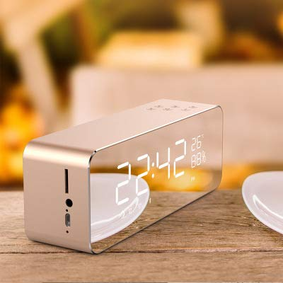 xingganglengyin Alarm Clock Speaker Audio Wireless Bluetooth subwoofer New Creative Bedside Mirror by xingganglengyin (Image #1)