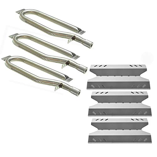 (Hisencn Gas Grill Repair Kit SS Burner, Non-Magnetic Stainless Steel Heat Plate Parts -3pack Replacement for Members Mark BQ05046-6, BBQ Pro, Sam's Club, Outdoor Gourmet)