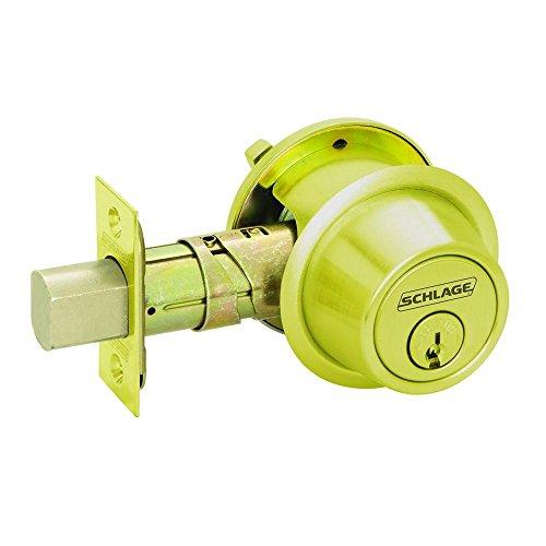 Schlage B560P 605 C Keyway Series B500 Grade 2 Deadbolt Lock, Single Cylinder Function, C Keyway, Bright Brass Finish