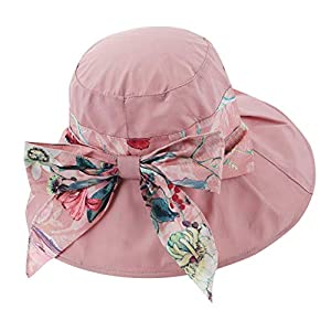 Egmy Womens Ladies Floral Wide Brim Adjustable UV Protection Visor Sun Hats Foldable Packable Travel Beach Fishing Cap…