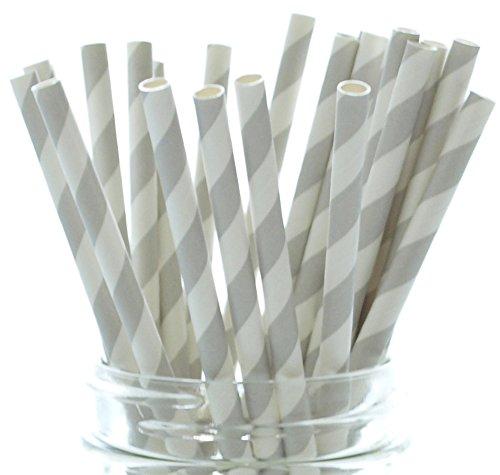 Silver Retro Paper Straws - 25 Pack – Gray Wedding Reception Straws, Grey Birthday Party Celebration, Silver Striped (Bento Halloween Ideas)