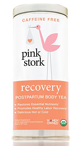 Gift Delivery Stork (Pink Stork Recovery: Strawberry Passionfruit Postpartum Body Tea -USDA Organic Loose Leaf Herbs in Biodegradable Sachets, Supports Healthy Labor Recovery, Restores Nutrients -30 Cups, Caffeine Free)