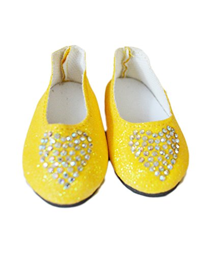 Brittany's My Belle Yellow Heart Shoes Compatible with Wellie Wisher Dolls and Glitter Girls- 14 Inch Doll - Doll Heart Yellow Shoes
