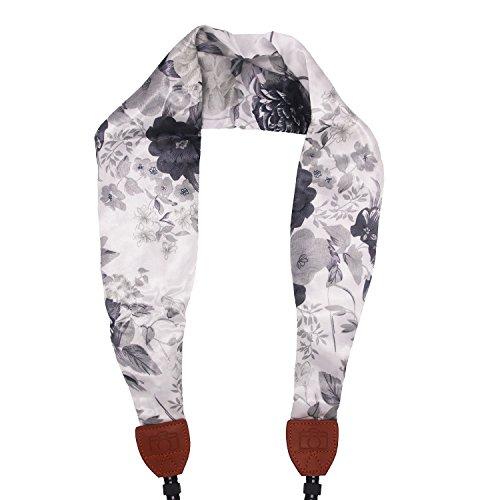 Camera Strap Scarf Vintage Floral Fabric DSLR Universal Neck Shoulder Belt For Women by Deanoy(White)