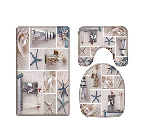 A.Monamour Collage of Starfish Sea Shell Lighthouse Boat Bottle Pearl White Sand Beach Nautical Themed Art Print Flannel Toilet Seat Covers Toilet Lid Covers Cushions Bath Mat Rug Toilet Accessories