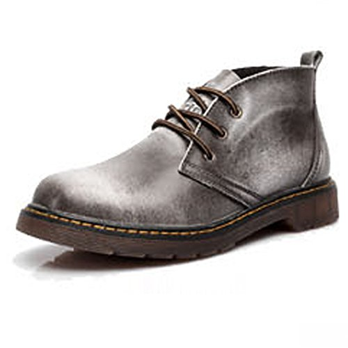 Sunny&Baby Men's Round Toe Shoes Lace Up Genuine Leather Upper High Top Boots For Gentlemen Abrasion Resistant (Color : Gray, Size : 6MUS Big Kid)