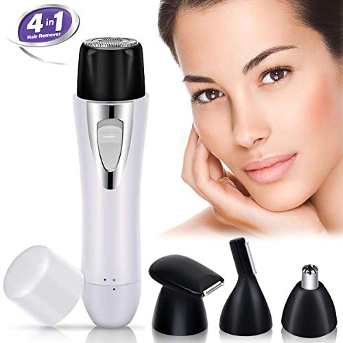 KINYEE Facial Hair Removal for Women – 4 in 1 Electric Painless Hair Remover Anti-allergy USB Rechargeable Shaver with Eyebrow Trimmer Bikini Razors, Nose Hair Trimmer for Women and Men white