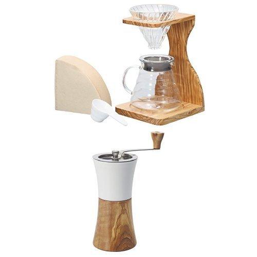 【세트 구매】HARIO (하리오) V60 올리브 스탠드 세트+세라믹 커피 밀 ・ 우드 세트