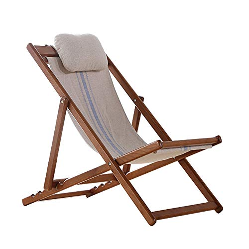 MEIDUO Rocking Lounger Solid Wood Recliner Outdoor Folding Lounger Chair Made of White Oak with Padded Headrest, Adjustable Canvas Reclining Chair for Patio, Balcony, Beach