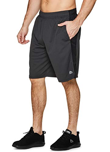 RBX Active Men's Athletic Basketball Gym Shorts with Pockets S-19 Charcoal M (Brooklyn Basketball Shorts Men)