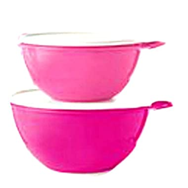 Tupperware Thatsa Mixing Bowls with Airtight Lids New Two Shades of Pink Punch 2 Bowl Set