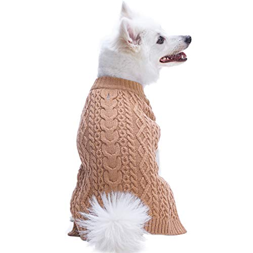 Blueberry Pet 2019 New 16 Colors Classic Wool Blend Cable Knit Pullover Dog Sweater in Camel, Back Length 16