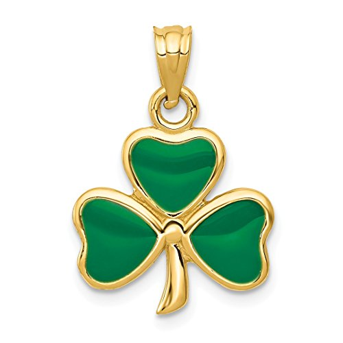14k Yellow Gold Enameled 3 Leaf Clover Pendant Charm Necklace Good Luck Italian Horn Fine Jewelry For Women Gift Set