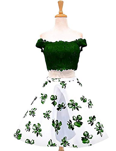 ON016 Two Floral Short Piece Lace Shoulder Gowns Dresses Green Off Dark Homecoming Satin Women's Prom q7HdwH
