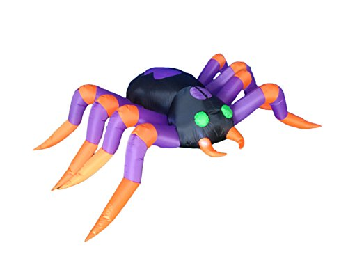 BZB Goods 8 Foot Long Halloween Inflatable Black Purple Spider LED Lights Decor Outdoor Indoor Holiday Decorations, Blow up Lighted Yard Decor, Giant Lawn Inflatables Home Family Outside by BZB Goods