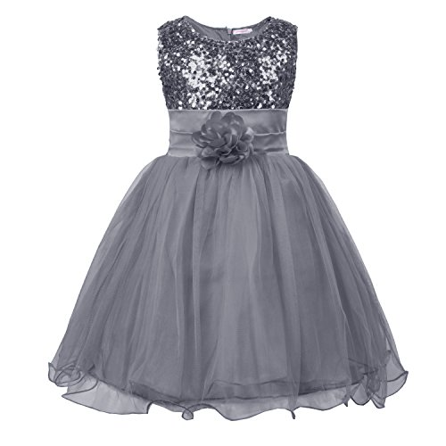 JerrisApparel Little Girls' Sequin Mesh Flower Ball Gown Party Dress Tulle Prom ((4T, Silver Grey)