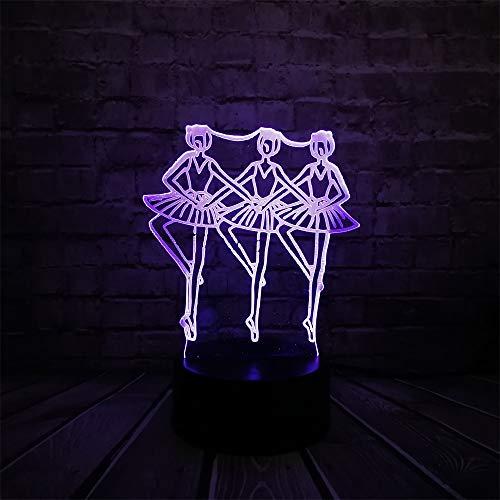 HRUIHKV Three Girl Ballet Dancer 3D Lámpara LED USB Mesa Luz de Noche Multicolor Lava RGB Batería Iluminación Luminaria...