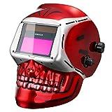 DEKOPRO Solar Power Auto Darkening Welding Helmet with Adjustable Shade Range 4/9-13 for Mig Tig Arc Welder Mask Shield Skull Design