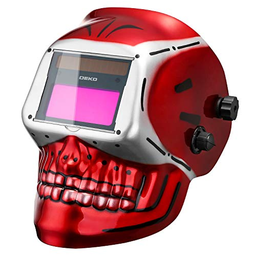 DEKOPRO Welding Helmet Solar Powered Auto Darkening Hood with Adjustable Shade Range 4/9-13 for Mig Tig Arc Welder Mask (Skull Design)
