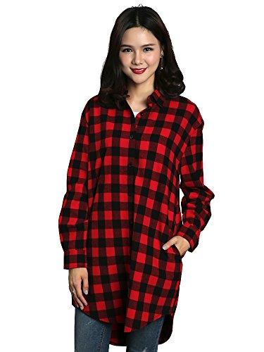 OCHENTA Womens Long Sleeve Boyfriend Style Plaid Shirt Dress Casual Tops