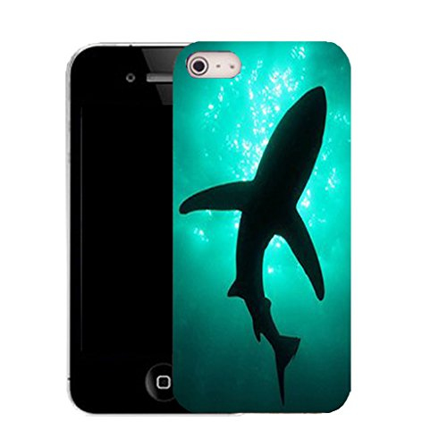 Mobile Case Mate IPhone 4s clip on Silicone Coque couverture case cover Pare-chocs + STYLET - AQUA SHADOW SHARK pattern (SILICON)