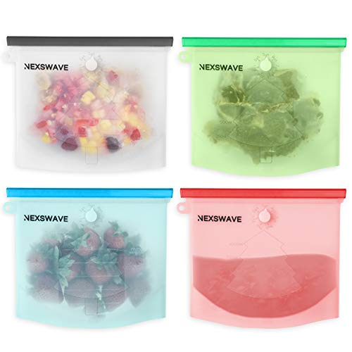 NEXSWAVE Reusable Silicone Food Bags Set of 4 | Airtight Zip Seal Bags Keep Your Food Fresh. Bags For Cooking, Sous Vide, Lunch, Snack, Sandwich, Freezer | NEW DESIGN with Week Recorder
