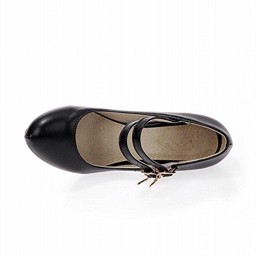 Carol Scarpe Eleganza Donna Fibbie Mary Jane Metallo Ciondolo Moda Scarpe Col Tacco Alto Pompe Scarpe Nere
