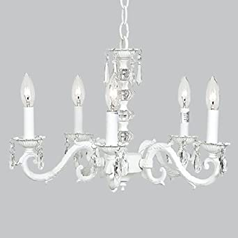 Jubilee Collection 71502 5 Arm Glass Turret Chandelier, White