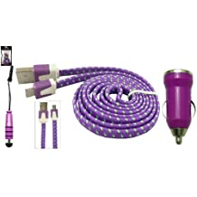 Emartbuy Braided Flat Trio Pack for Hipstreet Pulse / Hipstreet Micron / Hipstreet Millenium Tablet PC - Purple Bullet 1 Amp USB Car Charger + Purple Mini Metallic Stylus + Braided Purple / Green Flat Anti-Tangle Micro USB Sync / Transfer Data & Charger Cable