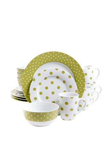 Gibsons Isaac Mizrahi Dot Luxe 16 pc Porcelain Dinnerware Se