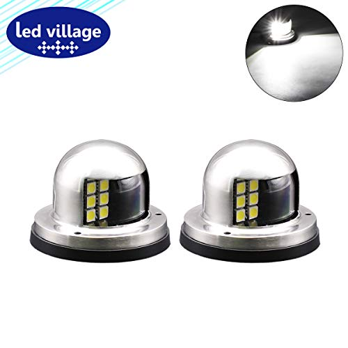 LedVillage (Pack of 2) Marine White LED Mount Clearance Lamp Navigation Bow Light w/Stainless Steel Port Starboard Waterproof Front Rear Fishing Boat Cruise Barge Chandlery Skeeter Yacht 12V DC RR12
