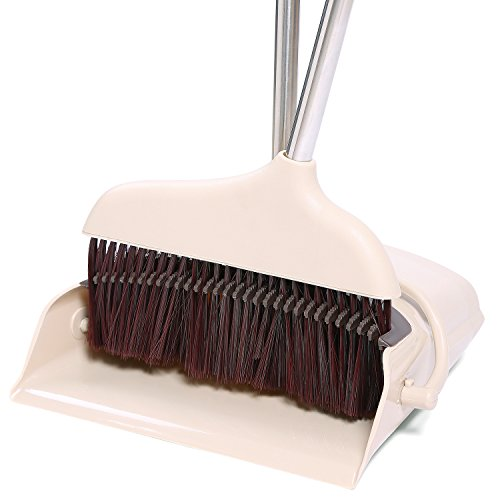 Toclean Dustpan Broom Set with Comb, Pivoting Upright Lobby Sweep Combo, 3 Foot Metal Handle with Grips, Home Office Shop Use ()